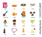 set of 16 icons such as tea bag ...