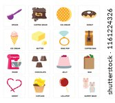 set of 16 icons such as gummy...