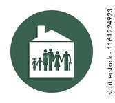 big family in house icon in... | Shutterstock . vector #1161224923