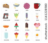 set of 16 icons such as fried...