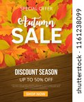 autumn sale background with... | Shutterstock .eps vector #1161238099