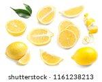 set with fresh lemons on white... | Shutterstock . vector #1161238213
