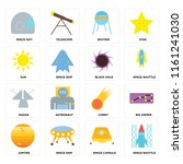 set of 16 icons such as space...