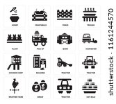 set of 16 icons such as hay...