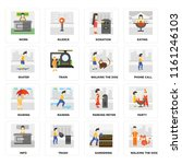 set of 16 icons such as walking ...