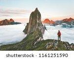 traveler hiking on mountains... | Shutterstock . vector #1161251590