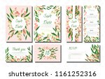 wedding card templates set with ... | Shutterstock .eps vector #1161252316
