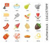 set of 16 icons such as pretzel ...