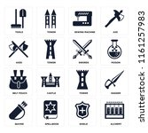 set of 16 icons such as alchemy ...