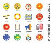 set of 16 icons such as upload  ...