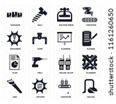 set of 16 icons such as vacuum  ...