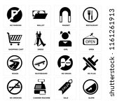 set of 16 icons such as slope ...