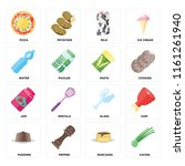 set of 16 icons such as chives  ...
