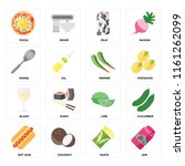 set of 16 icons such as jam ...