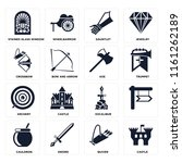 set of 16 icons such as castle  ...