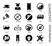 set of 16 icons such as no plug ...