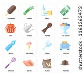 set of 16 icons such as pudding ...