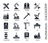set of 16 icons such as factory ...
