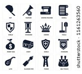 set of 16 icons such as belt...