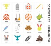 set of 16 icons such as poop ...