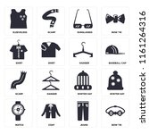 set of 16 icons such as bow tie ...