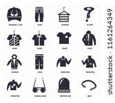 set of 16 icons such as belt ...