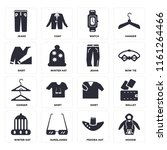 set of 16 icons such as hoodie  ...