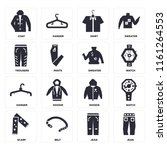 set of 16 icons such as jean ...