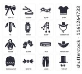 set of 16 icons such as top hat ...