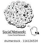 silhouette social network | Shutterstock .eps vector #116126524