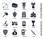 set of 16 icons such as sword ...