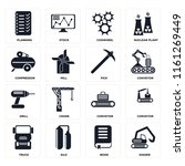 set of 16 icons such as digger  ...