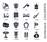 set of 16 icons such as money...