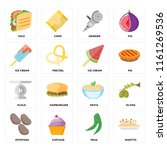 set of 16 icons such as risotto ...