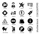 set of 16 icons such as roads ...