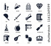 set of 16 icons such as crown ...