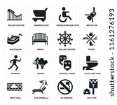 set of 16 icons such as taxi...