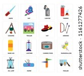 set of 16 icons such as trailer ...