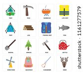 set of 16 icons such as deer ...