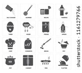 set of 16 icons such as platter ...