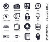 set of 16 icons such as head ...