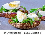 healthy fitness toasts with... | Shutterstock . vector #1161288556