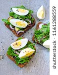 healthy fitness toasts with... | Shutterstock . vector #1161288559