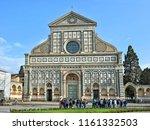 tourists look at santa maria... | Shutterstock . vector #1161332503