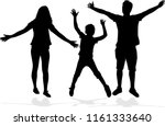 family of silhouettes. | Shutterstock .eps vector #1161333640