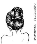 woman with stylish classic bun... | Shutterstock .eps vector #1161338590