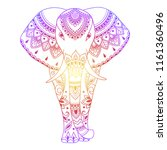 african elephant decorated with ... | Shutterstock .eps vector #1161360496