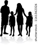 family of silhouettes. | Shutterstock .eps vector #1161362326