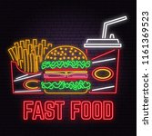 retro neon burger  cola and... | Shutterstock .eps vector #1161369523