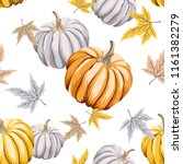 autumn orange  gray pumpkins ... | Shutterstock .eps vector #1161382279